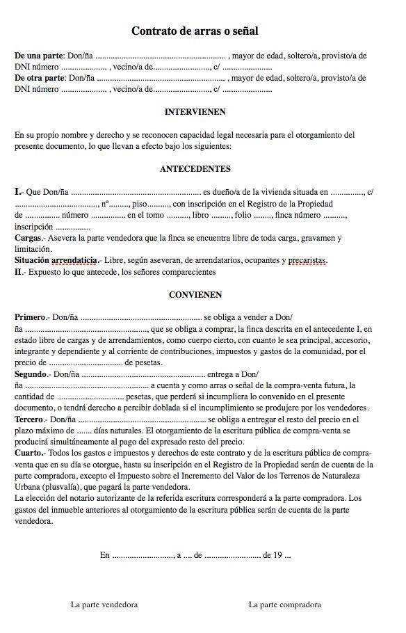 ejemplo contrato de arras